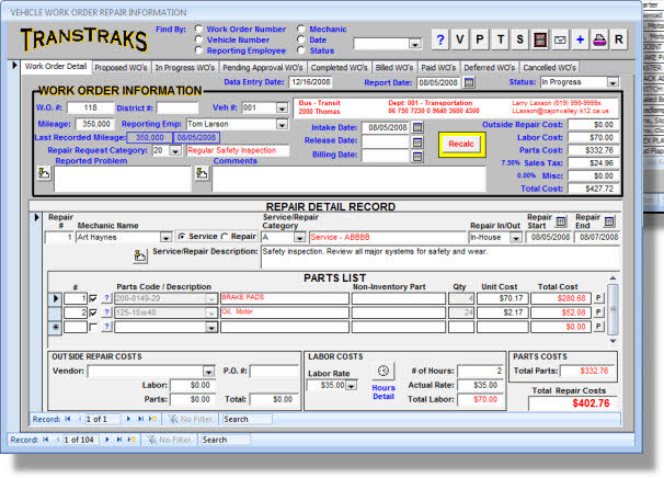 There Are Scores Of Reports In The Vehicle Maintenance System Providing You With Comprehensive Management On When Vehicles Due For Services And